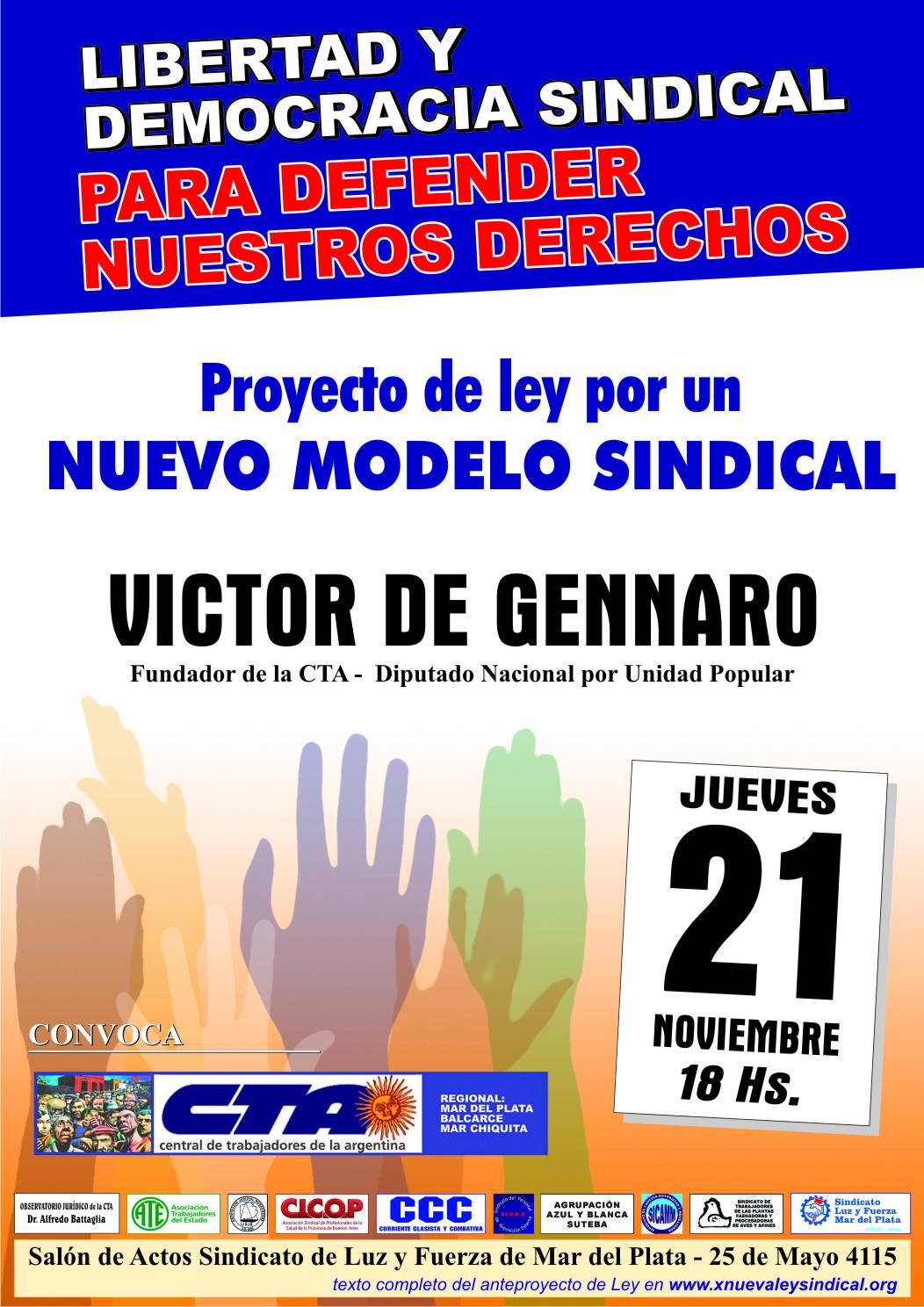 Afiche Víctor De Gennaro en Mar del Plata