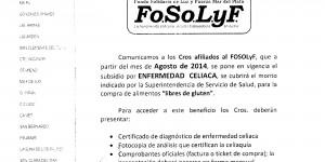 Fo.SoLyF: Subsidio por Enfermedad Celiaca // Circular Nº47