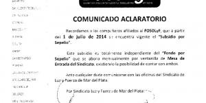 Subsidio por Sepelio – Comunicado aclaratorio