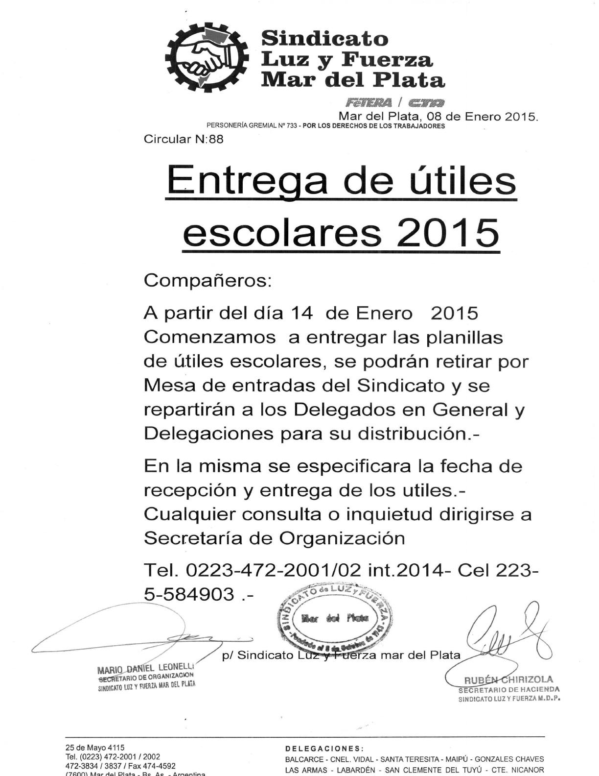 ENTREGA DE UTILES 2015 FECHA 14 01 2015