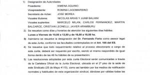 COMUNICADO Nº 1 JUNTA ELECTORAL