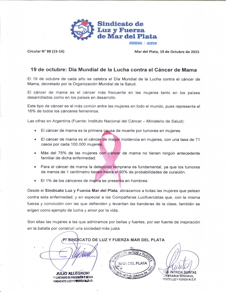 Comunicado 88 (15-16) Dia Lucha cancer mama