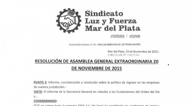 RESOLUCIÓN ASAMBLEA GENERAL EXTRAORDINARIA 20-11-2015