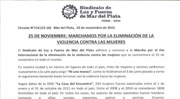 25 DE NOVIEMBRE: MARCHAMOS POR LA ELIMINACIÓN DE LA VIOLENCIA CONTRA LAS MUJERES