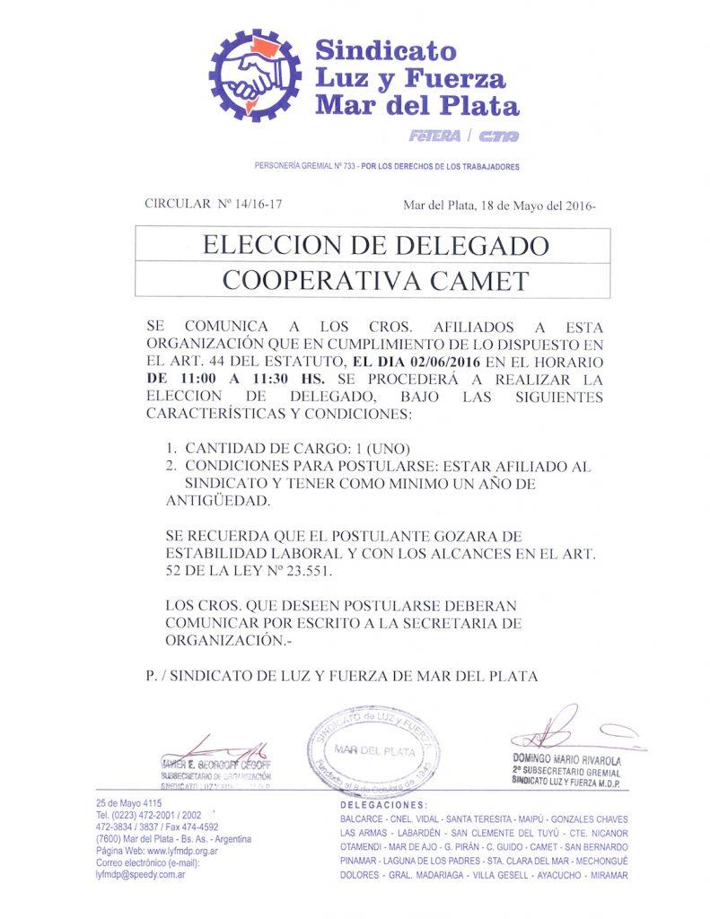 Circular 14 (16-17) Eleccion delegados Coop Camet
