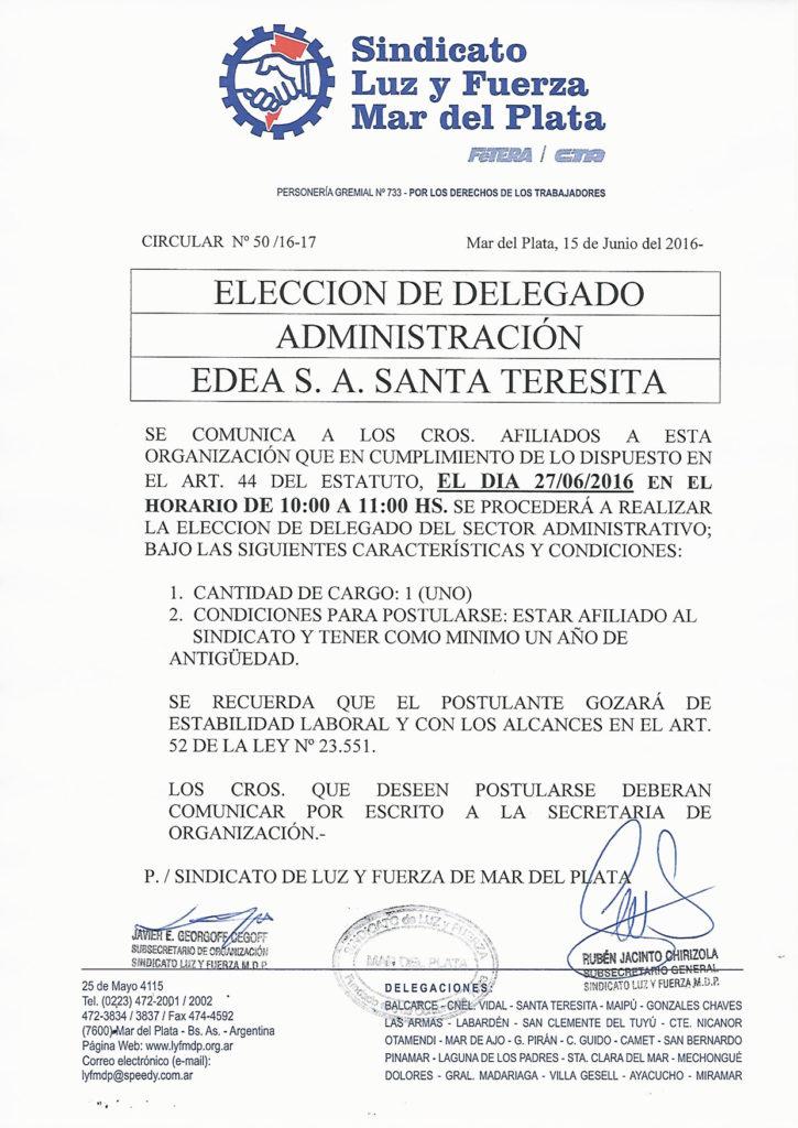 Circular 50 (16-17)Elección Administración Santa Teresita