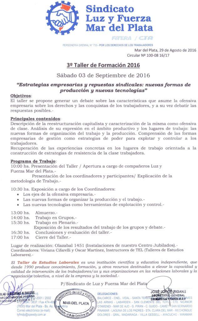 Circular 100 (16-17) 3er taller de formacion Sindical 2016