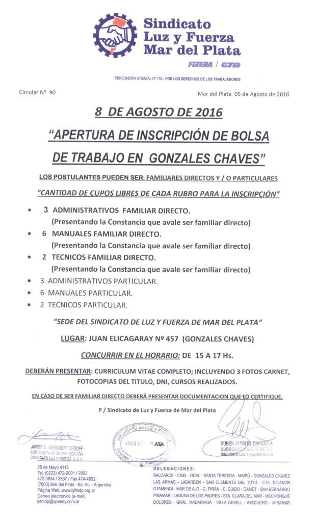 Circular 90 (16-17) Apertura bolsa de trabajo Chaves