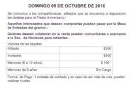 CIRCULAR N°96 (16-17): VENTA DE ENTRADAS PARA LA FIESTA ANIVERSARIO