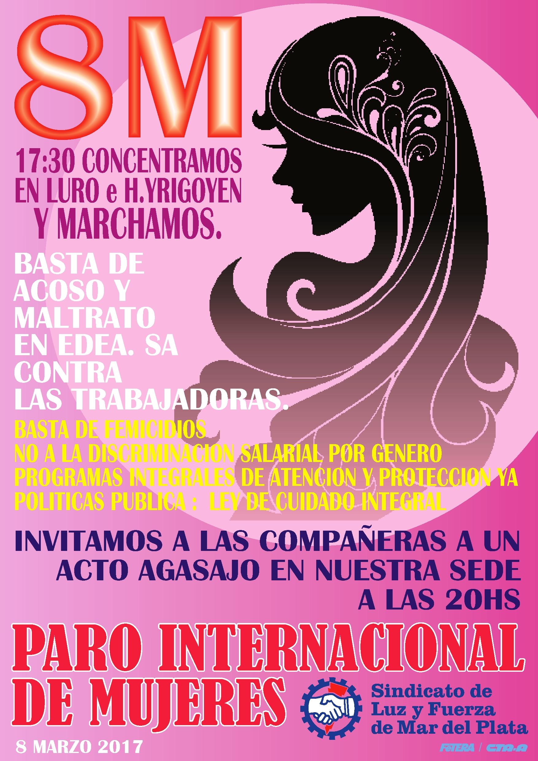 LAS MUJERES LUCIFUERCISTAS PARTICIPAMOS DE LA MARCHA DEL DÍA INTERNACIONAL DE LA MUJER TRABAJADORA