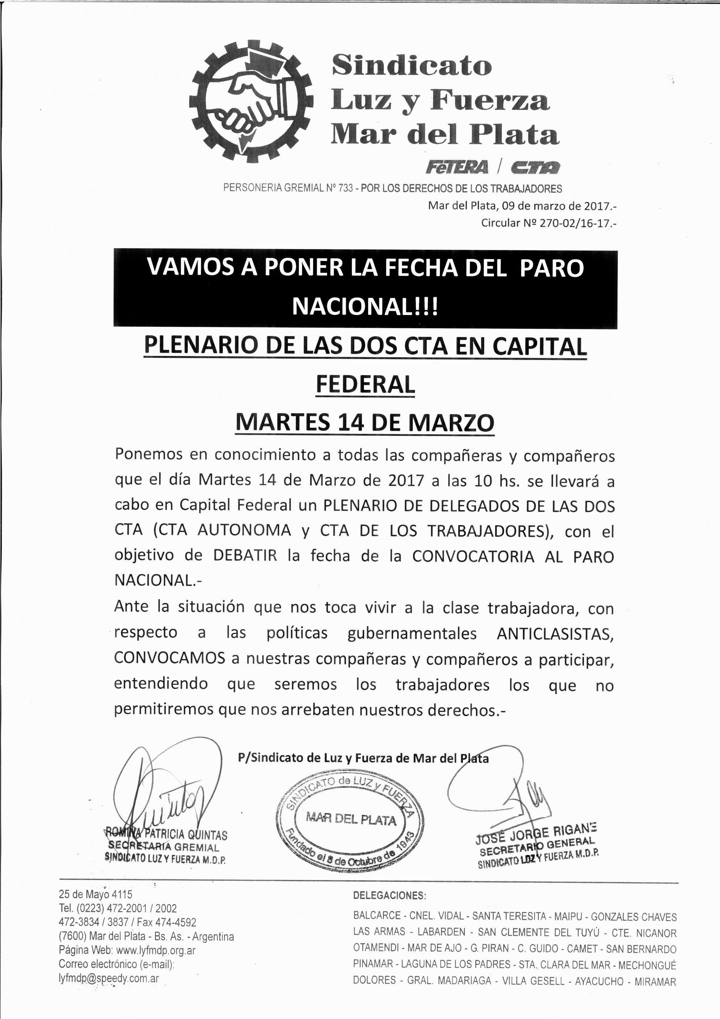 HACIA EL PARO NACIONAL - PLENARIO DE LAS CTA EN BS.AS.