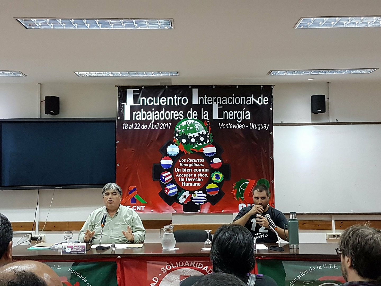 JOSÉ RIGANE EN ENCUENTRO INTERNACIONAL DE TRABAJADORES DE ENERGÍA DE URUGUAY
