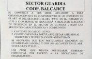 15 de mayo: Elección de Delegado en Cooperativa Balcarce (Guardia)
