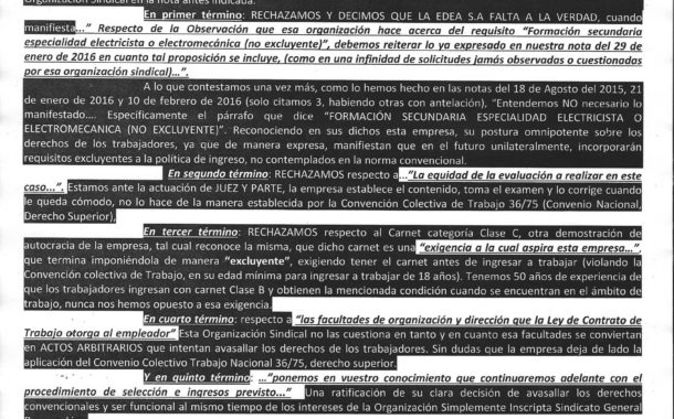 EDEA S.A, DEMUESTRA SU DECISIÓN ARBITRARIA DE DESCONOCER  DERECHOS CONVENCIONALES