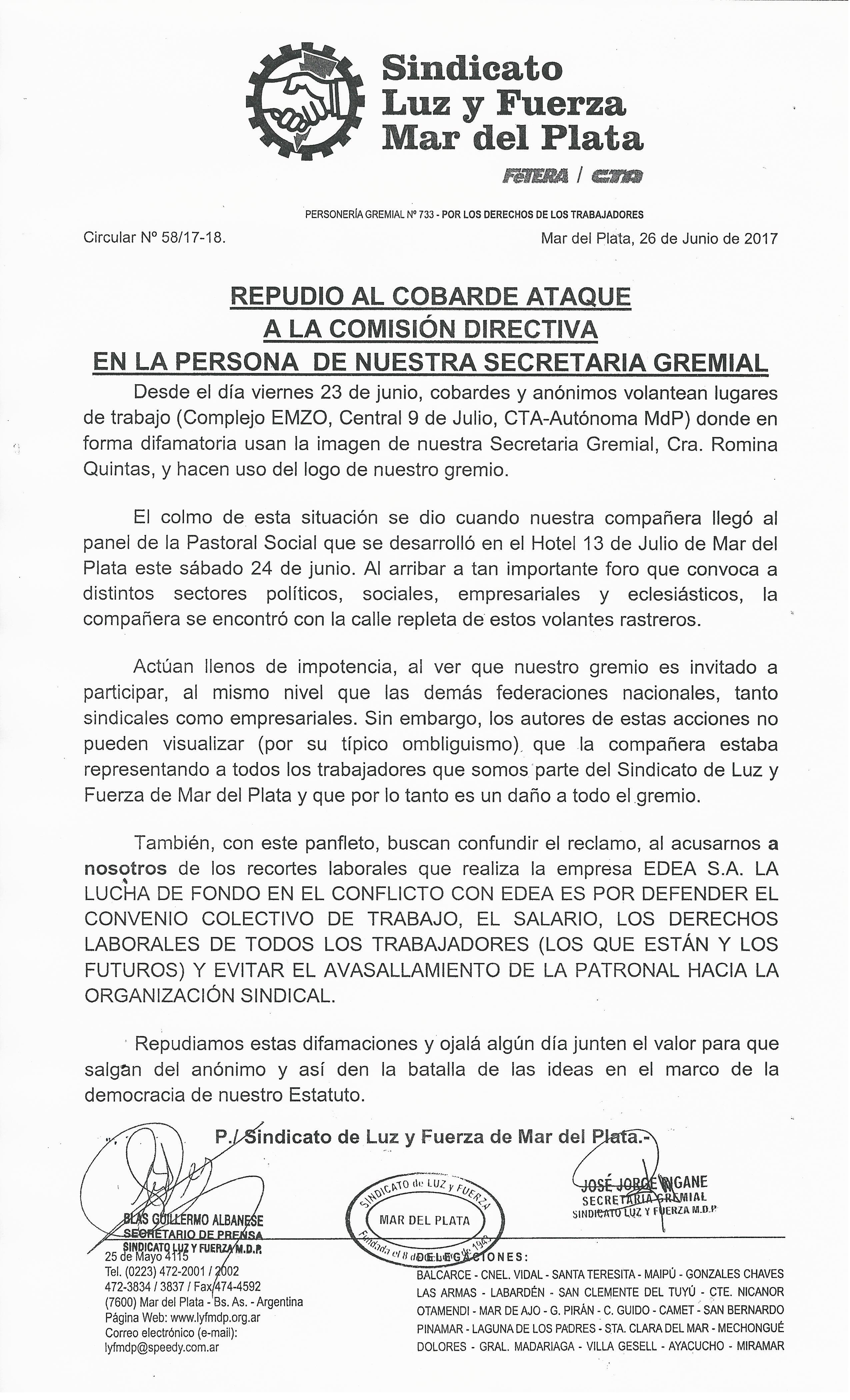 REPUDIO AL COBARDE ATAQUE A LA COMISIÓN DIRECTIVA EN LA PERSONA DE NUESTRA SECRETARIA GREMIAL