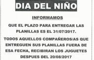 PLAZO PARA ENTREGA DE PLANILLAS DÍA DEL NIÑO/A 2017