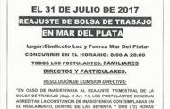 31 DE JULIO: REAJUSTE DE BOLSA DE TRABAJO EN MAR DEL PLATA