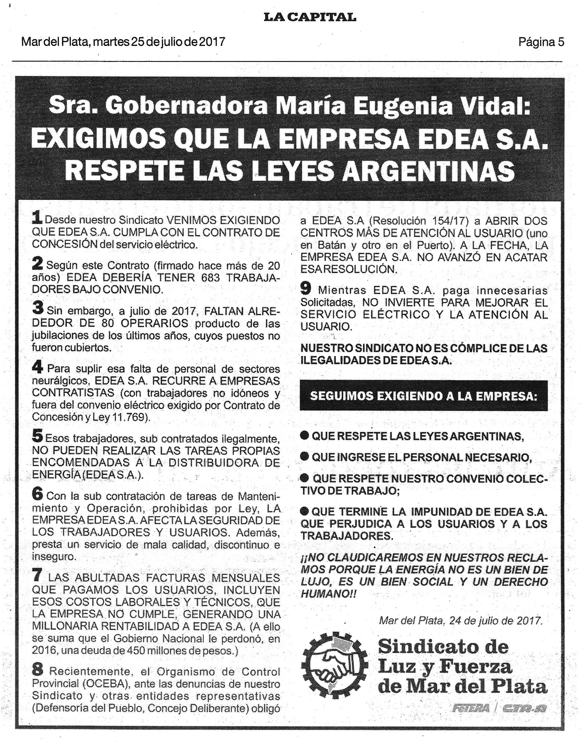 SOLICITADA DIRIGIDA A LA GOBERNADORA MARÍA EUGENIA VIDAL CONTRA LOS ABUSOS DE EDEA S.A.
