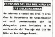 FESTEJO DEL DÍA DEL NIÑO/A EN LAS DELEGACIONES