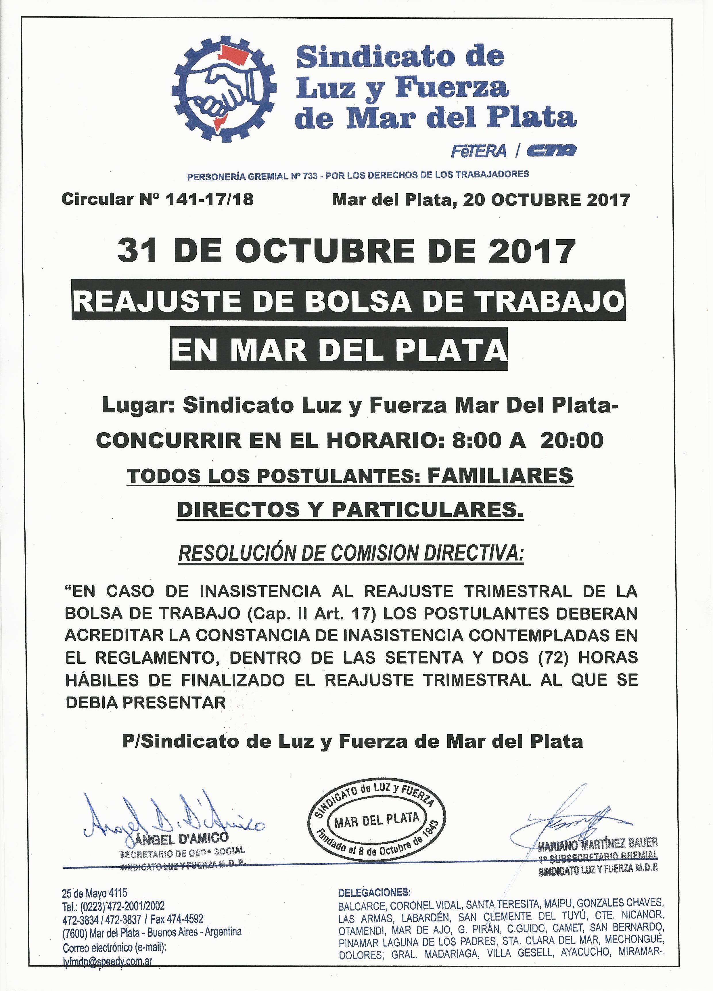 31 de octubre: REAJUSTE BOLSA TRABAJO MdP