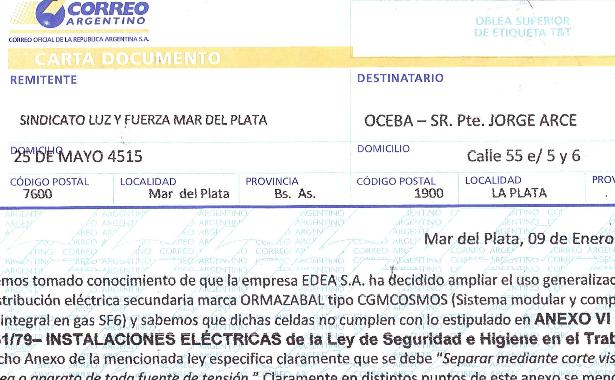 Denuncia contra EDEA S.A ante la OCEBA por no cumplir con las normas de corte visible