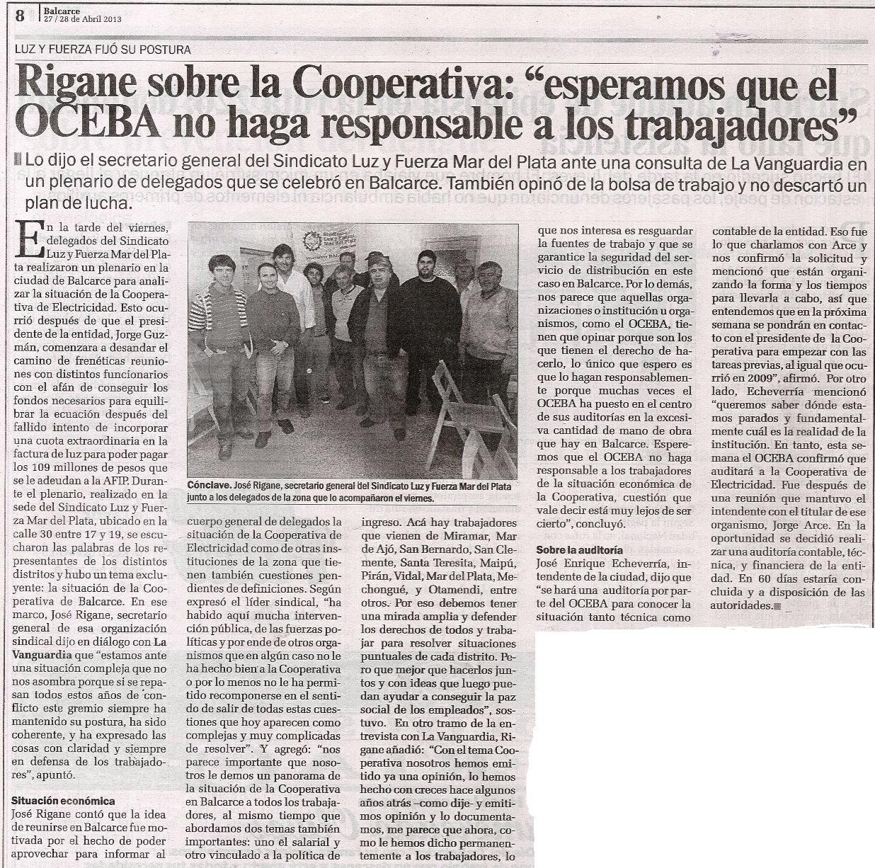 Rigane sobre Cooperativa Balcarce:
