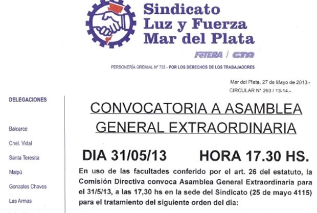 Convocatoria Asamblea General Extraordinaria: 31-5-2013