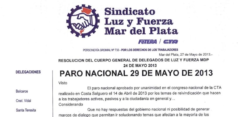 Resolución Cuerpo General de Delegados viernes 24 de mayo de 2013