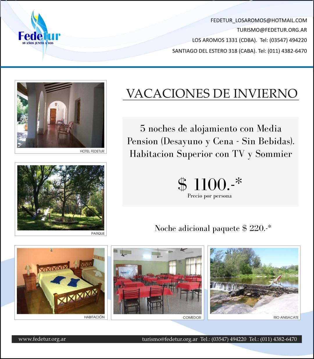Promo Vacaciones de Invierno y tarifario vigente - Hotel de Campo Fedetur