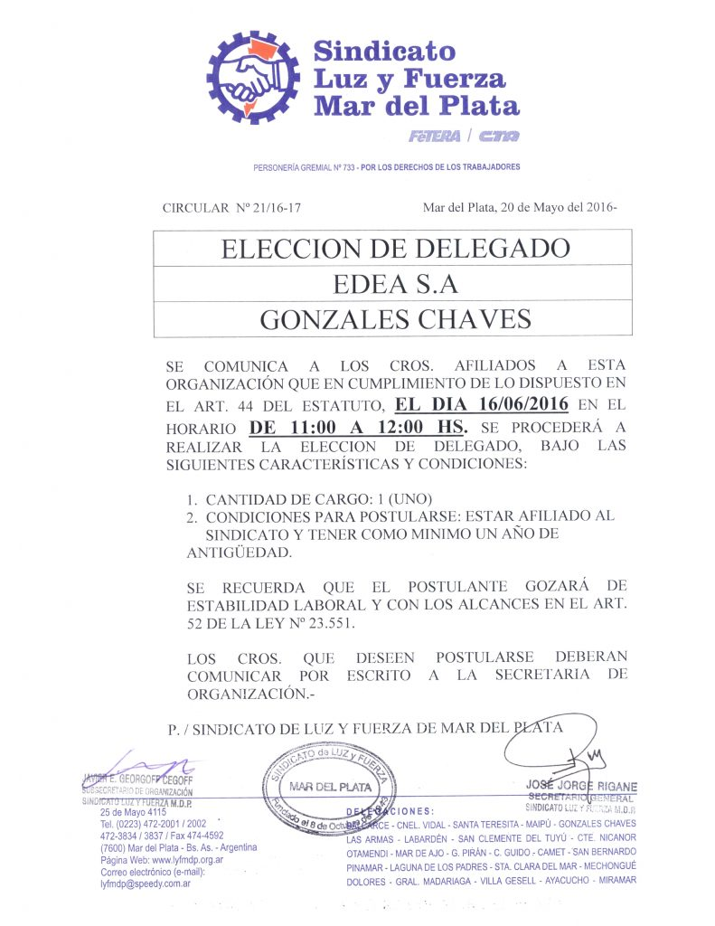 Circular 21 (16-17) Eleccion de Delegado en Chaves