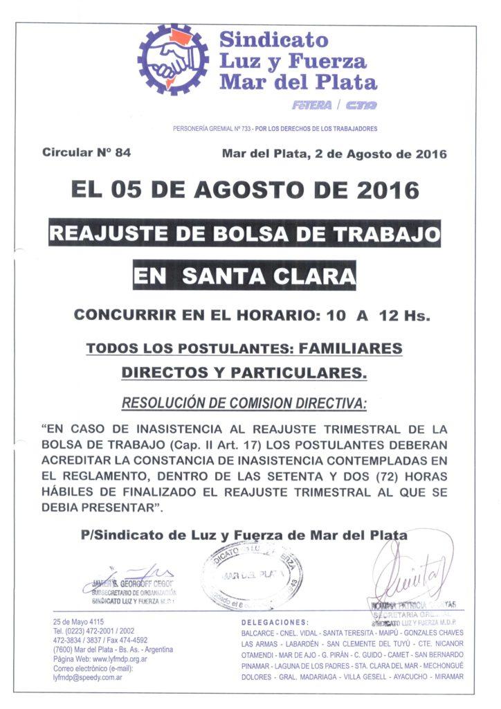 Circular 84 (16-17) Reajuste Bolsa de trabajo Santa Clara del mar