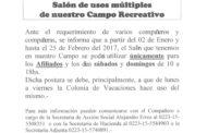 COMUNICADO SOBRE EL USO DEL SALÓN DEL CAMPO RECREATIVO