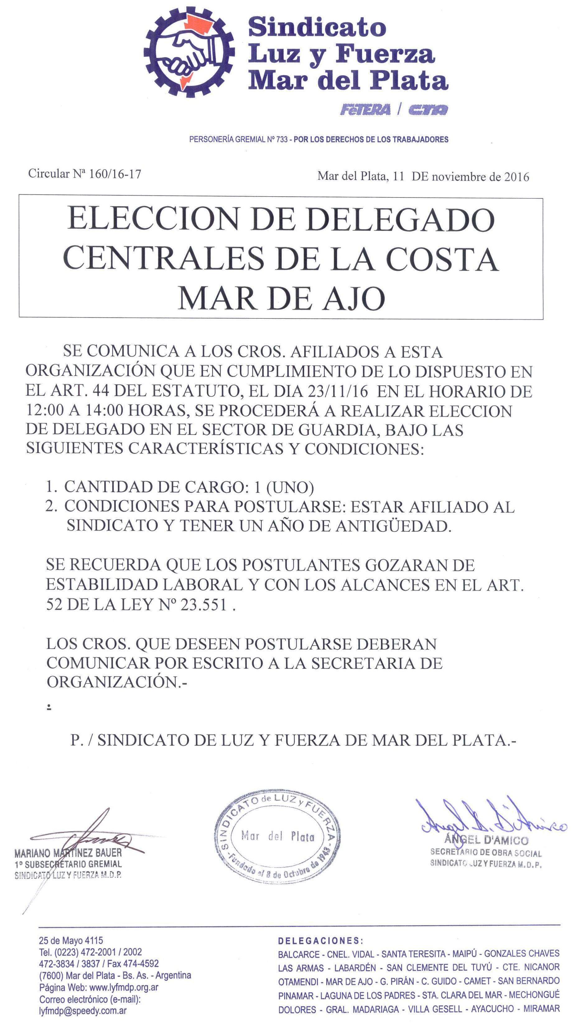ELECCIÓN DE DELEGADO EN CCA MAR DE AJÓ (GUARDIA Y MANTENIMIENTO)