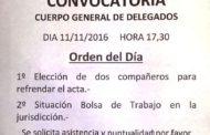CONVOCATORIA AL CUERPO GENERAL DE DELEGADOS: VIERNES 11 DE NOVIEMBRE 2016