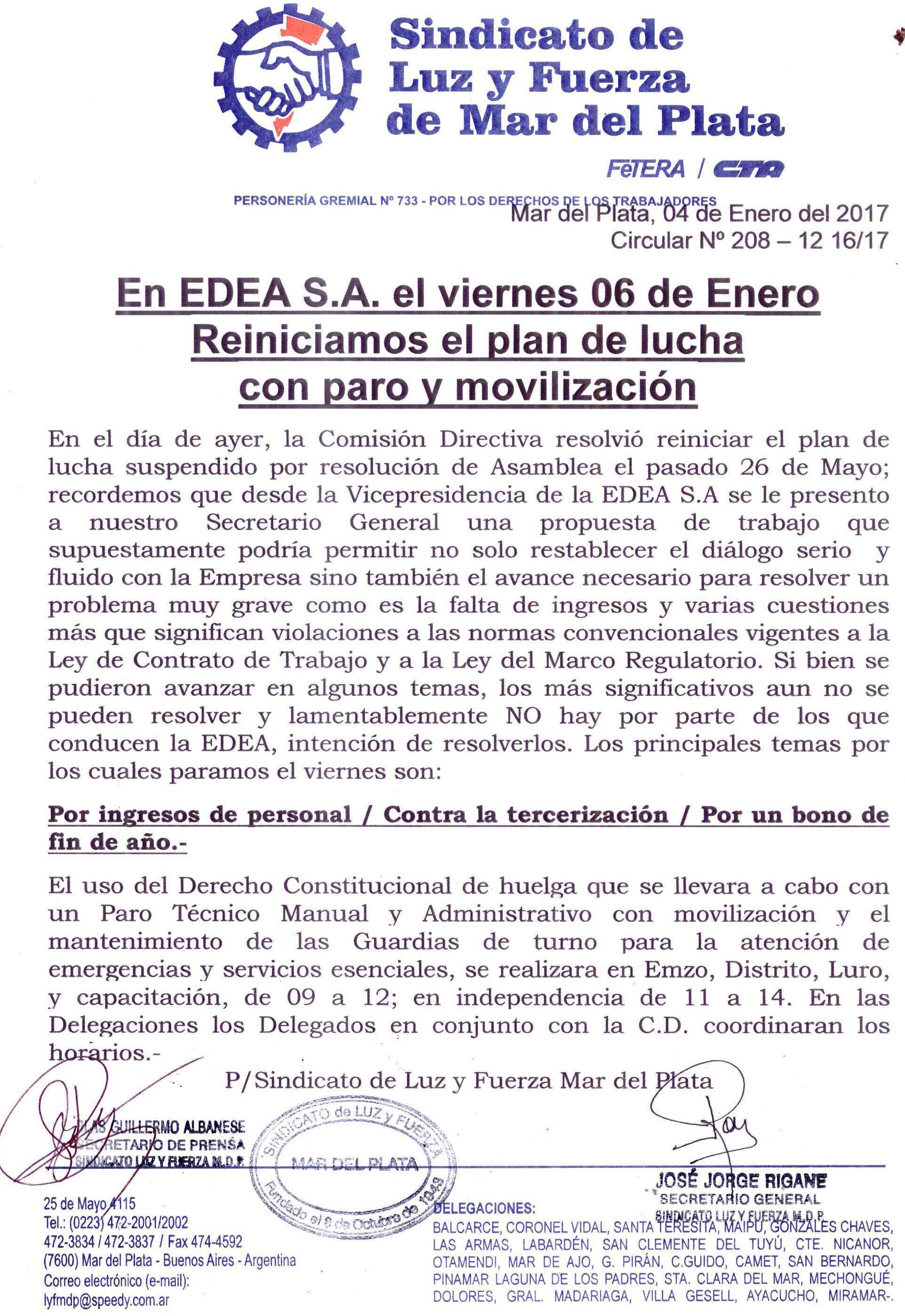 En EDEA S.A. el viernes 6 reiniciamos el plan de lucha con paro y movilización