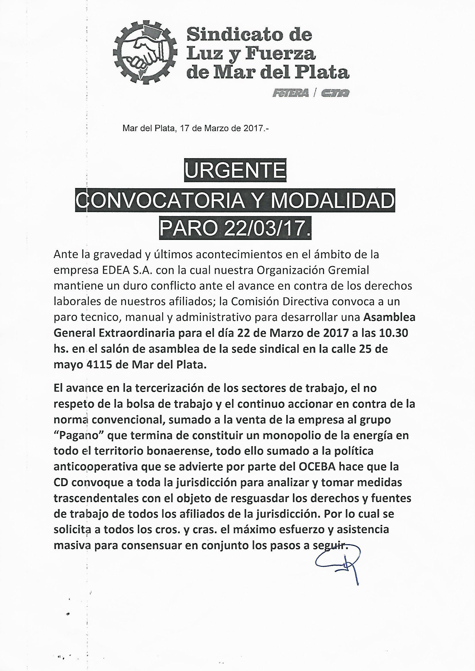 CONVOCATORIA Y MODALIDAD PARO 22-3-17