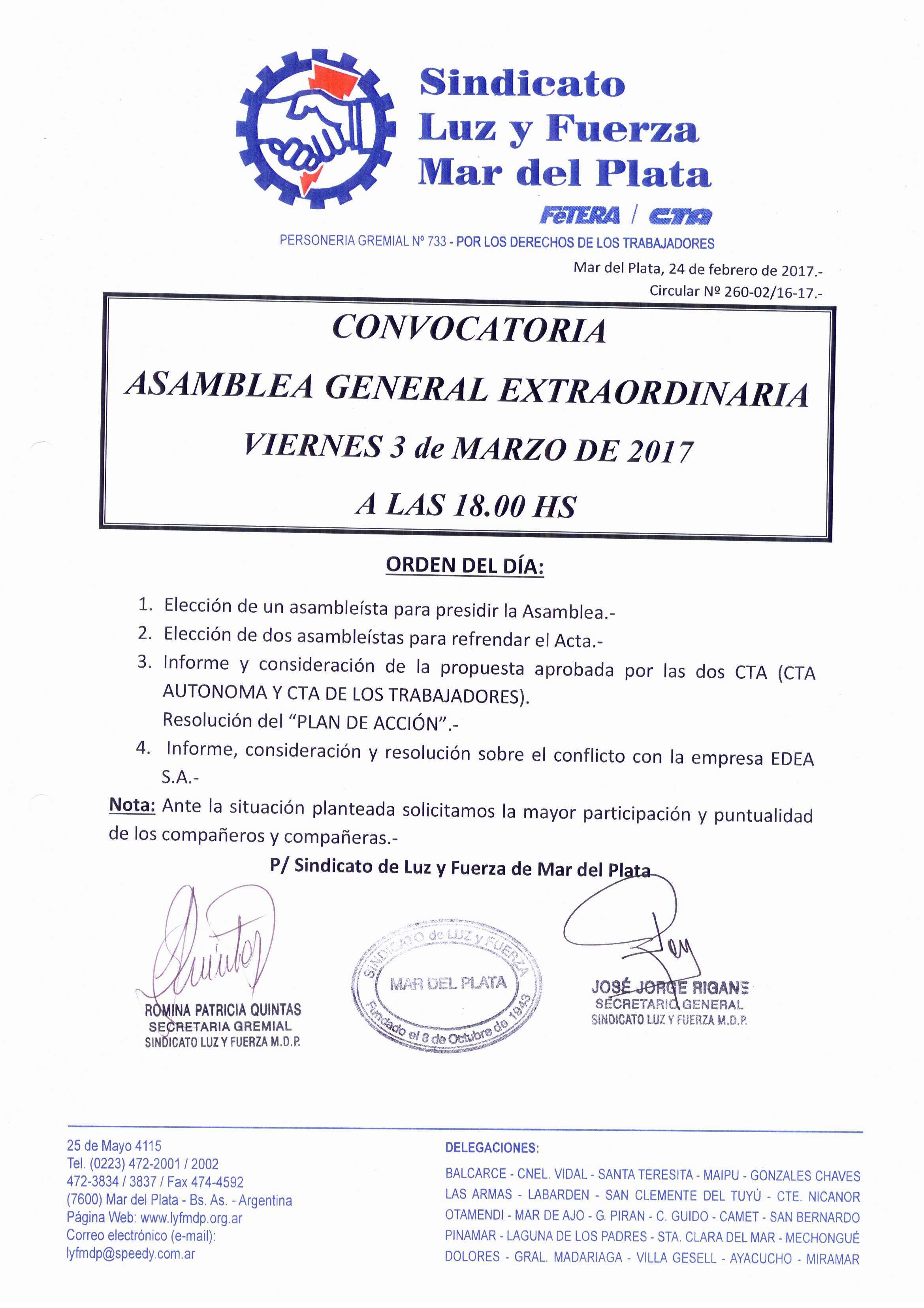 VIERNES 3 DE MARZO DE 2017: ASAMBLEA GENERAL EXTRAORDINARIA