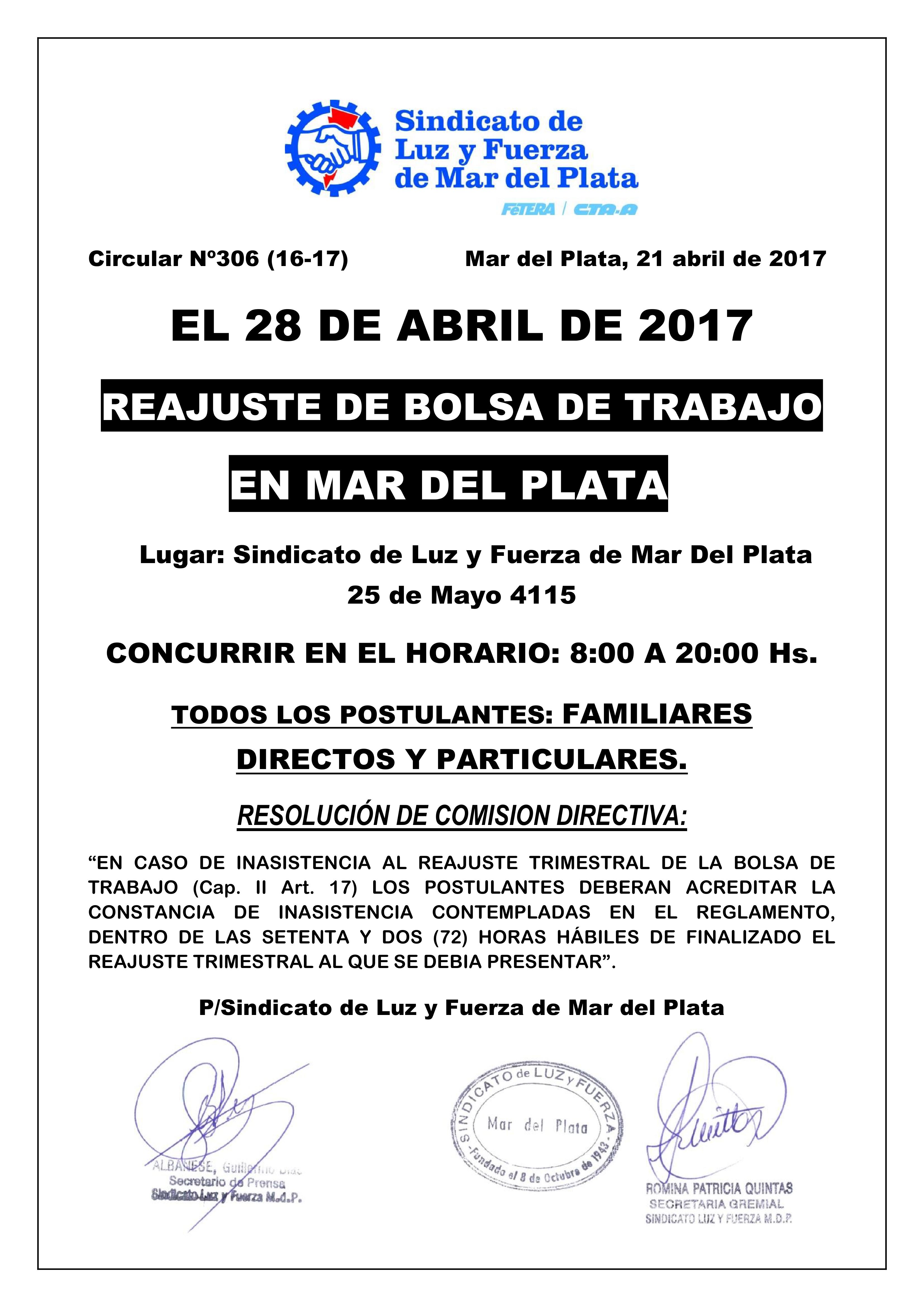 28 DE ABRIL DE 2017: REAJUSTE DE BOLSA DE TRABAJO EN MAR DEL PLATA