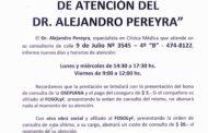INFORMACIÓN DE OBRA SOCIAL: NUEVOS DÍAS Y HORARIOS DEL DR. PEREYRA