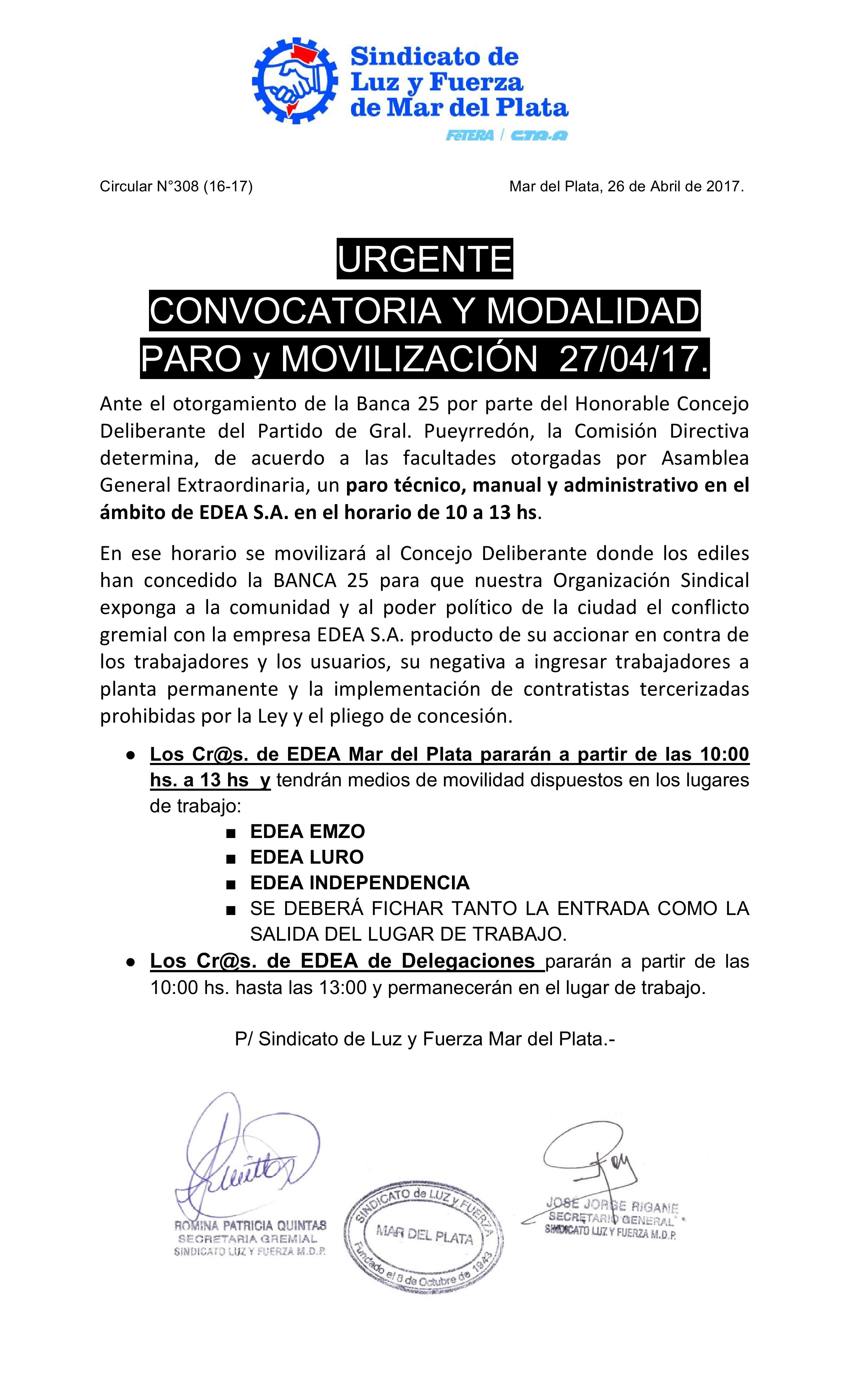 URGENTE - CONVOCATORIA Y MODALIDAD  PARO y MOVILIZACIÓN  27/04/17