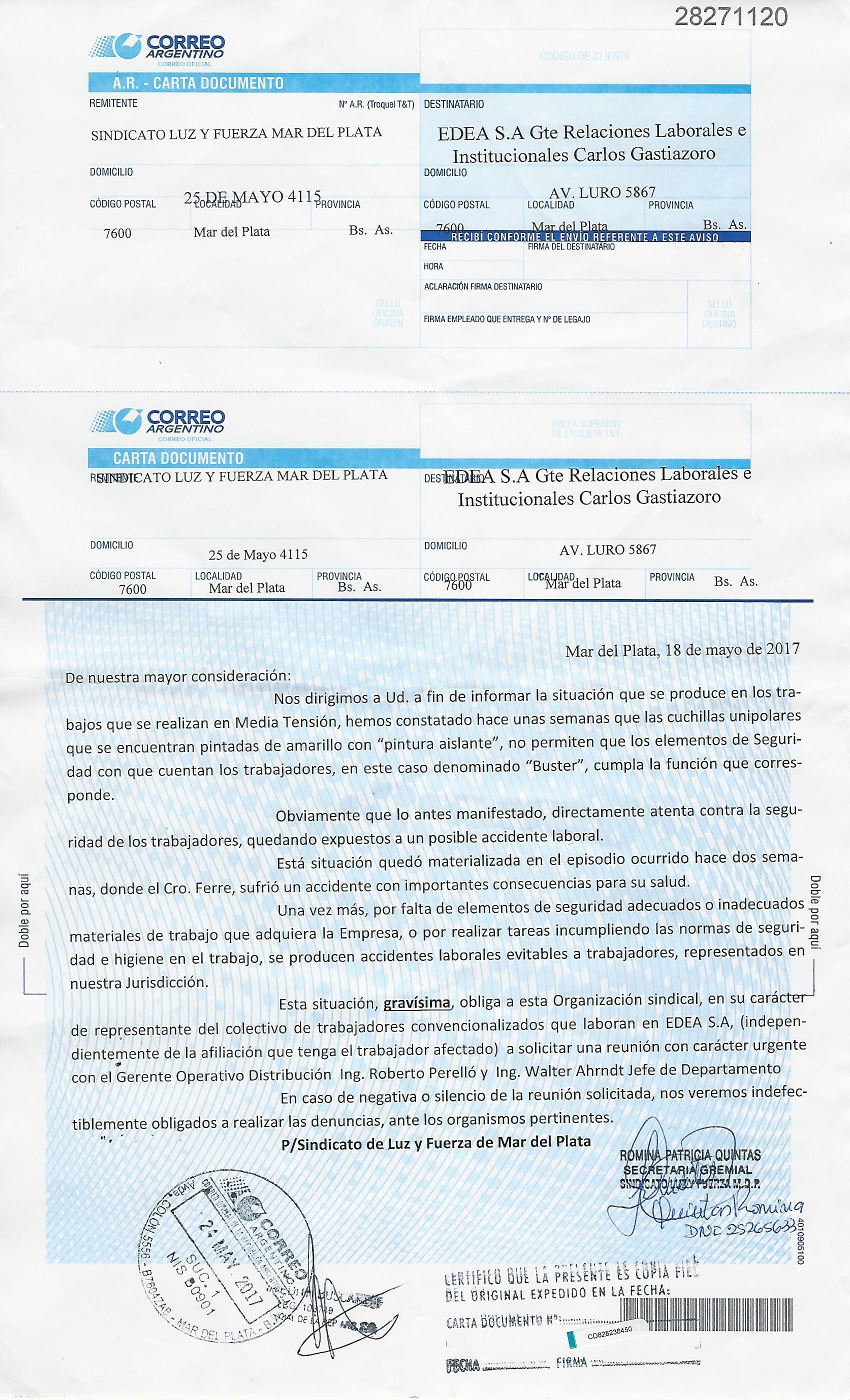 CARTA DOCUMENTO A EDEA S.A. POR SEGURIDAD LABORAL