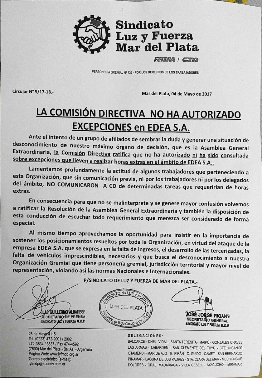 LA COMISIÓN DIRECTIVA NO AUTORIZÓ EXCEPCIONES EN EDEA S.A.