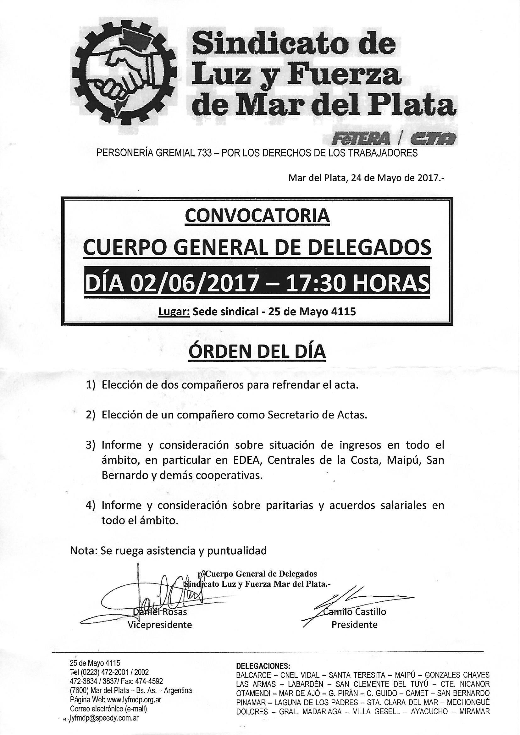 CONVOCATORIA AL CUERPO GENERAL DE DELEGADOS 2 DE JUNIO DE 2017 - 17.30hs