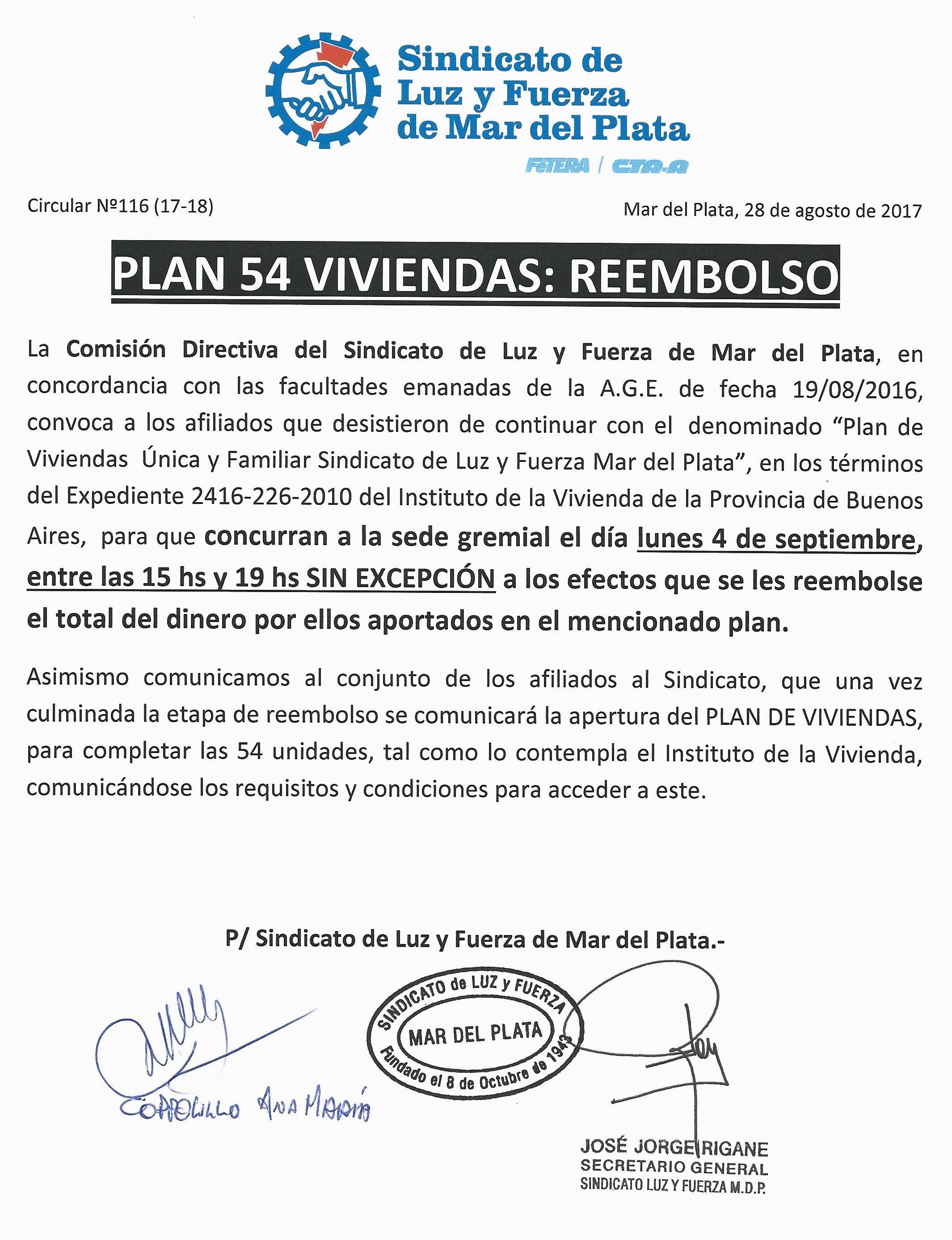 REEMBOLSO DE DINERO PLAN DE VIVIENDAS MAR DEL PLATA