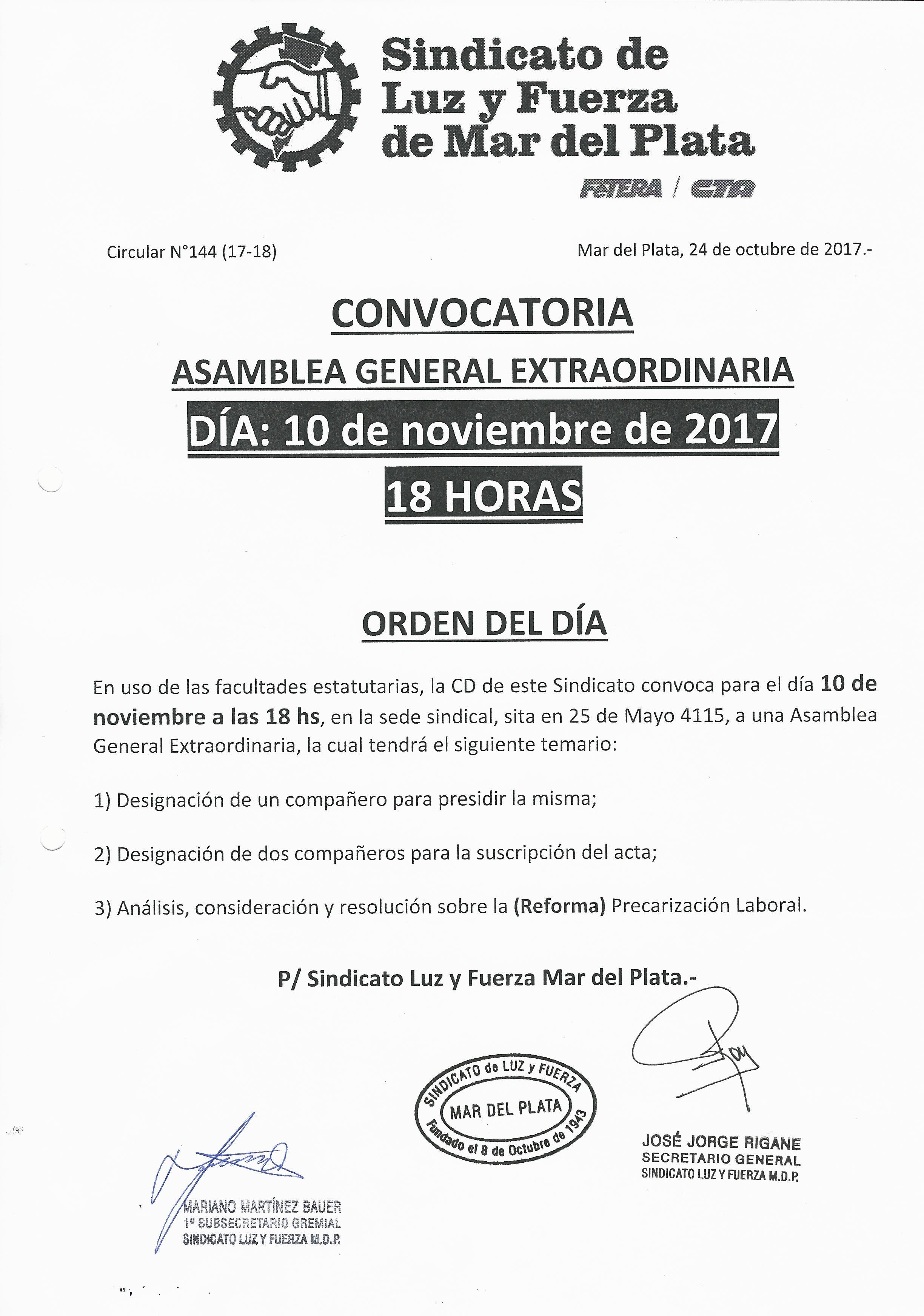 CONVOCATORIA A.G.E 10-11-2017