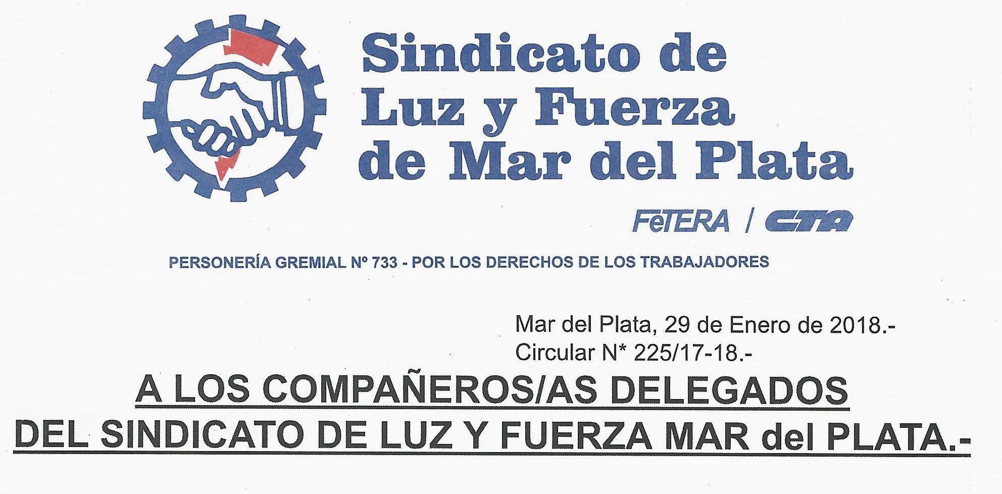A los Cros./Cras. Delegados/as del Sindicato de Luz y Fuerza de Mar del Plata