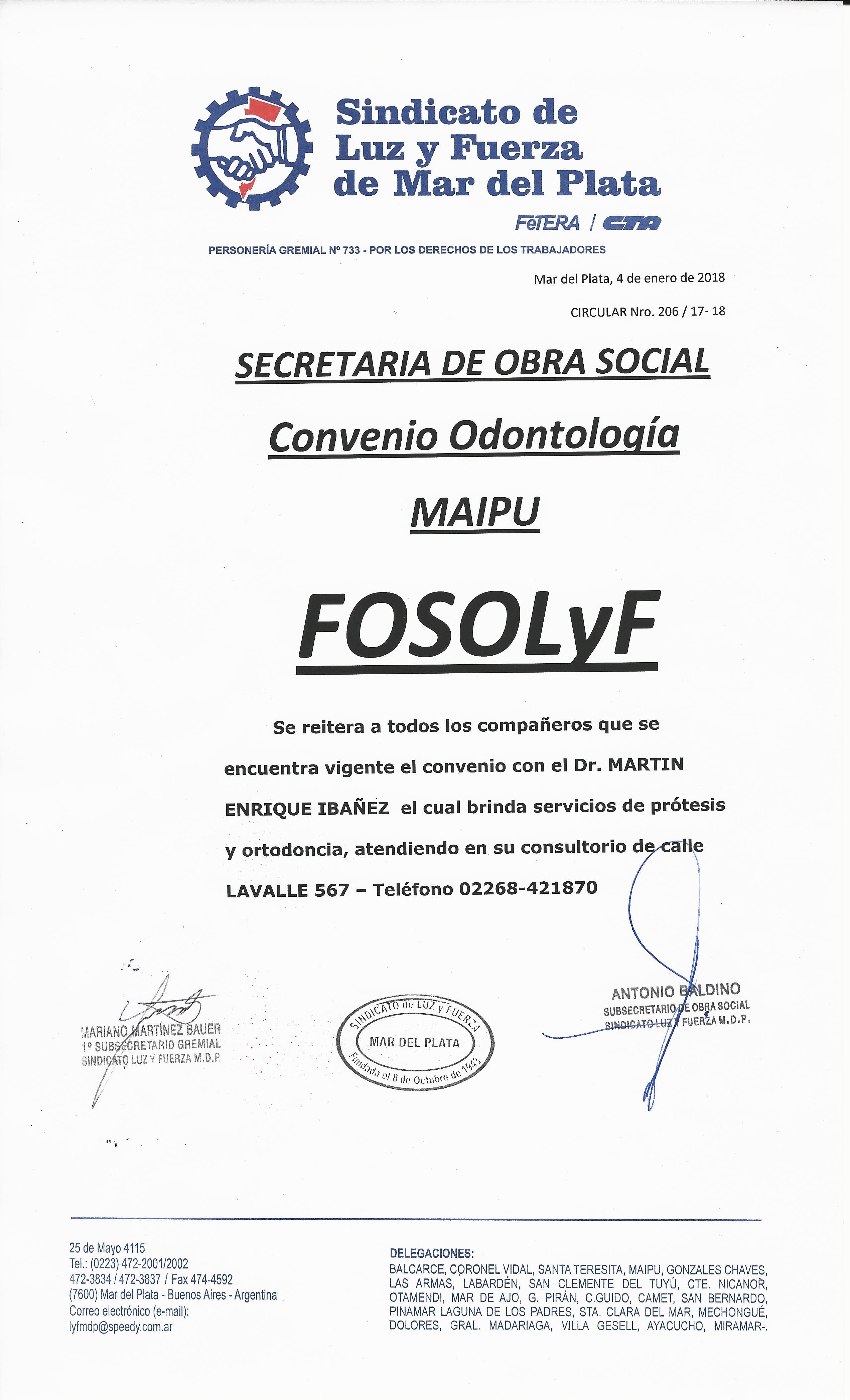 OBRA SOCIAL: CONVENIO ODONTOLÓGICO EN MAIPÚ