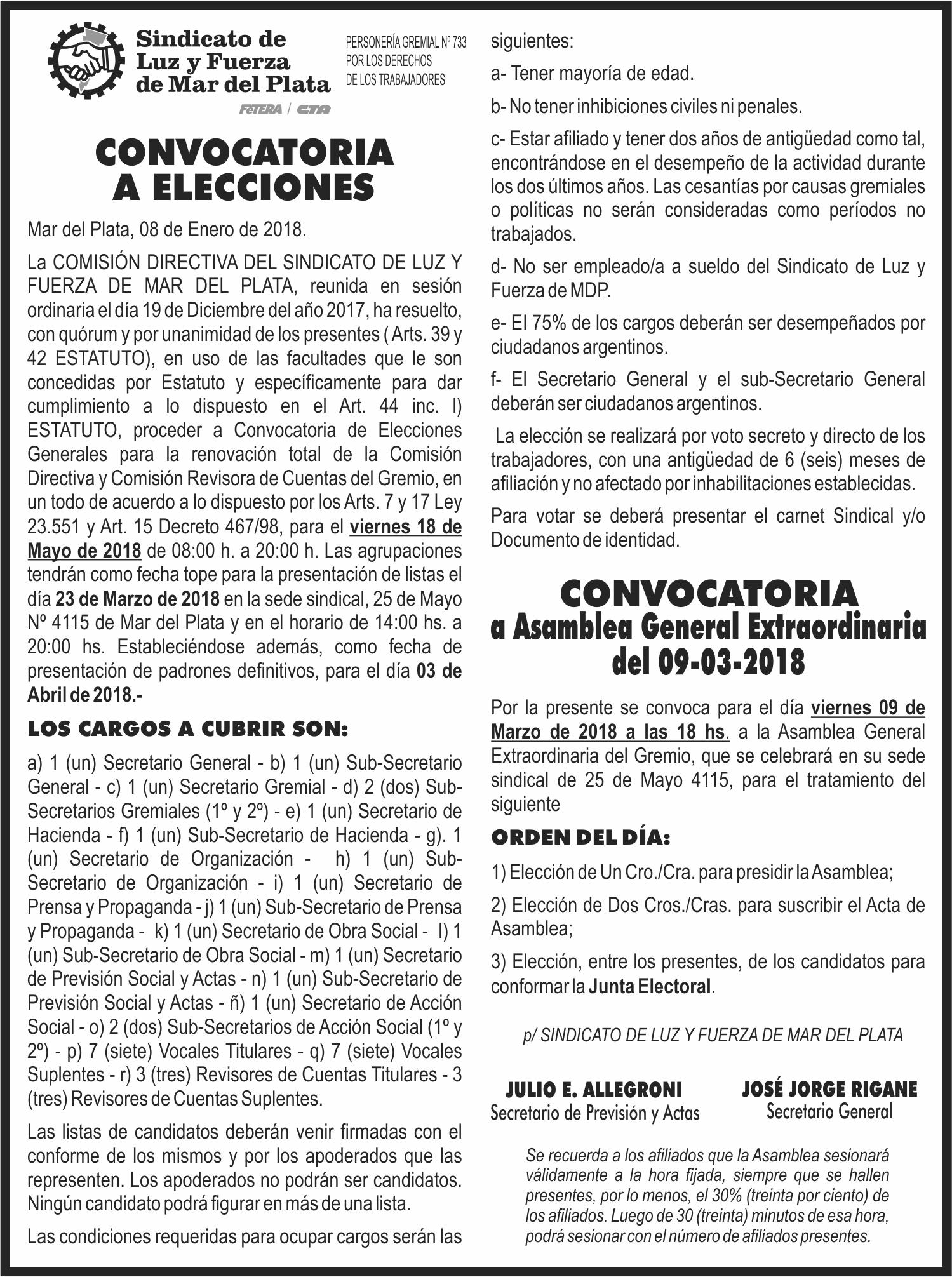 CONVOCATORIA A ELECCIONES 2018