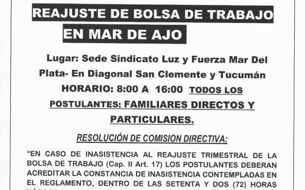 REAJUSTES BOLSAS DE TRABAJO MAR DE AJÓ Y SAN BERNARDO