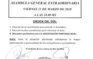 CONVOCATORIA A ASAMBLEA EXTRAORDINARIA 23-3-18